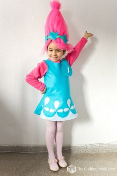 Need a last minute Troll's Poppy Costume? Have this costume done in about 2 to 3 hours and you don't need to be a pro to make it/ Poppy Halloween Costume, Movie Halloween Costumes, Toy Story Costumes, Diy Costumes, Halloween Kids, Halloween Makeup, Halloween Party, Kids Costumes Girls, Toddler Costumes