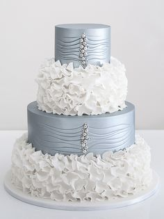 "This is a cool cake! Ruffles & Sparkles Frilly Wedding Cake ~ Love the ""button"" detail. ᘡղbᘠ"