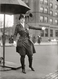 "Traffic Cop: Washington, D.C., circa 1918. ""Mrs. L.O. King, traffic cop."" Badge 432, where are you? Harris & Ewing Collection glass negative. Click to view full size."