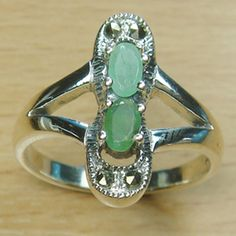 Double Stone Genuine Emerald Marcasite 925 Sterling Silver Ring