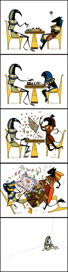 Stick-gods ~ Game Night. Poor Thoth!