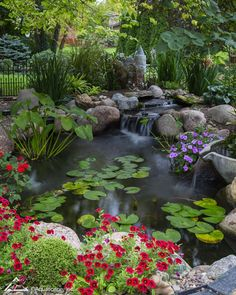 Looking for backyard ideas? You'll love the serenity of a water feature or backyard pond. Create paradise outside your door with Aquascape Backyard Designs! Backyard Water Feature, Ponds Backyard, Garden Ponds, Pond Landscaping, Landscaping With Rocks, Garden Pond Design, Landscape Design, Fish Pond Gardens, Water Gardens