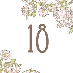 Free   table numbers to download on our blog today! nouveau_peonies_free_download_wedding_template