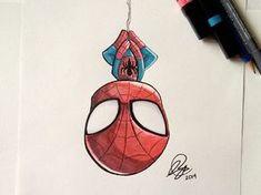 Chibi SpiderMan Marker - Chibi SpiderMan Marker by Stéphanie Forbes - . - Chibi SpiderMan Marker – Chibi SpiderMan Marker by Stéphanie Forbes – Marvel Drawings, Disney Drawings, Cartoon Drawings, Easy Drawings, Drawing Sketches, Chibi Drawing, Drawing Superheroes, Chibi Sketch, Drawing Cartoon Characters