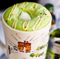 Mint Matcha Green Tea Latte -3/4c non-dairy milk, vanilla* -3/4c water -1tsp matcha green tea powder -1-3tsp agave syrup (or to taste) -MINT: (3 options) about 3 drops of peppermint extract, organic OR 1 peppermint tea bag OR 1 large sprig of fresh mint ** -foam: 1/3 cup non-dairy milk + 1/4 tsp matcha + drizzle of agave
