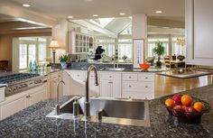Blue Pearl Granite Countertops Bring Luxury and Beauty to Your Kitchen: Kitchen Sinks And Kitchen Faucets Plus Blue Pearl Granite Countertops With White Kitchen Cabinets And Kitchen Cabinet Knobs Also Dinin Room Set