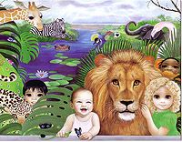 ~Happy Kingdom~   ISAIAH 11:6-9 ... the leopard will lie down...a little  boy will lead them...the lion will eat straw like the bull...the nursing child will play and a weaned child...Because the earth will certainly be filled with the knowledge of Jehovah ........