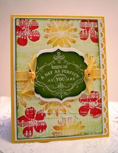 LOVE the white embossed music wheel OVER the card!