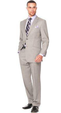 Catania Herringbone Classic Fit Men's Suit - Grey $498.00