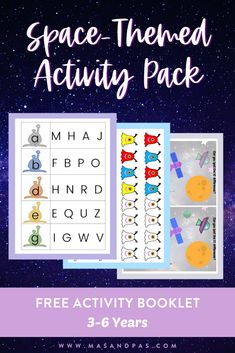 Download your free space-themed activity booklet printables, made for kids ages 3 to 6 years old, and you'll have a whole day filled with a fun indoor activity that will help your child learn and improve their fine motor skills, math skills and phonics skills! #funforkids #indooractivityforkids #indoorfunforkids #learningforkids #teachingkids Space Activities For Kids, Educational Activities For Toddlers, Fun Indoor Activities, Free Activities, Motor Activities, Kindergarten Activities, Play Based Learning, Fun Learning, Teaching Kids