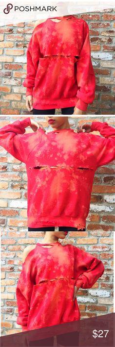 🔥Vintage colder shoulder distressed sweater🔥 Hand bleached and distressed cold shoulder sweater with elbow slits! Dress this edgy sweatshirt up or down! 🌹 Tops Sweatshirts & Hoodies