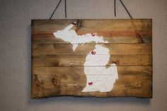 Hearts marking favorite places in Michigan. - #Kalamazoo #Traverse City #CopperHarbor  #WhiteFishPoint #PalletPalooza