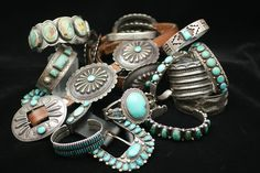 Pile of sterling silver and turquoise cuff bracelets, and a belt #jewelry