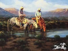 Sagebrush Stories by Bruce Graham 2 Cowboys on Horseback Western SN LE Print GRAHAM, BRUCE  The cowboy knows the world has idealized what he does for a living. Most people don't think about the fencing, or the calving, or the reality of spending a day on a tractor instead of a horse. But, there is a part of the western life that is romantic ... like when a bunch of cowboys are standing in a corral watching a good horseman work a colt. It's early evening, and the  ... click the image to read…