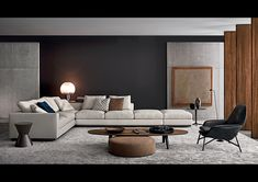 """The manufacturer MINOTTI is proof of Italian quality, combining perfectionism, tradition and modern technology. The taste and vision of Rodolfo Dordoni make MINOTTI products the best examples of """"Made in Italy. Home Living Room, Interior Design Living Room, Modern Interior, Living Room Designs, Interior Architecture, Living Room Decor, Living Spaces, Morden Living Room, Interior Livingroom"""