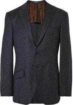 $1,030, Navy Wool Blazer: Richard James Navy Seishin Wool Blend Mlange Blazer. Sold by MR PORTER. Click for more info: https://lookastic.com/men/shop_items/297798/redirect