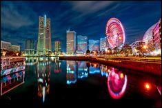 Yokohama's Minato Mirai area reflected in the waters near the Port of Yokohama.