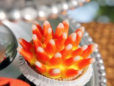 Spiky Candy Corn Cupcakes for #Halloween