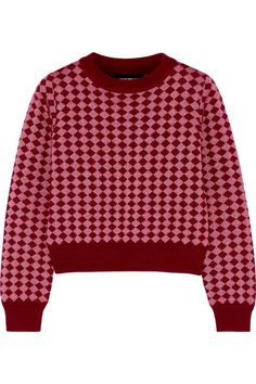 House of Holland | Cropped diamond-intarsia stretch wool-blend sweater | NET-A-PORTER.COM