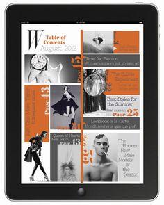 W Magazine for ipad by Johanna Lörracher, via Behance Magazine Table, W Magazine, Digital Magazine, Magazine Design, Book Design, Layout Design, Web Design, Graphic Design, Table Of Contents Design