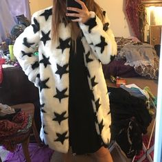 "Missguided Faux Fur Star Jacket Super chic faux fur white and black star patterned jacket by Missguided. It's like a medium, I'm a small (5'2"") and it's a tad too big for me. Missguided Jackets & Coats"