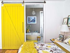 Great color and the rustic sliding barn style door is amazing. Love it ...