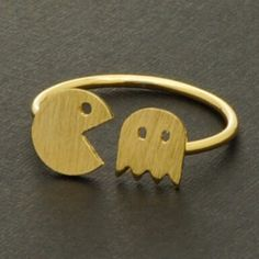 Cute Pac Man Inspired Gold Ring Brand New - Comes Packaged - All Orders Ship Same Day Jewelry Rings