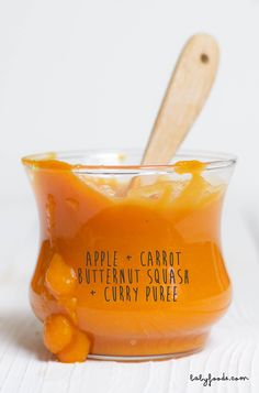 Apples Butternut Squash Carrots Curry Puree Baby FoodE organic baby food recipes to inspire adventurous eating Baby Carrot Recipes, Baby Puree Recipes, Pureed Food Recipes, Homemade Baby Foods, Baby Food Recipes, Food Baby, Broccoli Recipes, Carrot Baby Food, Recipe Using Butternut Squash