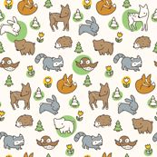 Woodland Meadow (Cream) wallpaper by auki for sale on Spoonflower - custom wallpaper