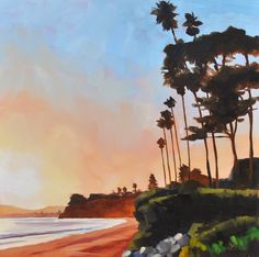 Sharon Schock Daily Paintings - Still Life, Landscapes, and Small Impressions: Butterfly Beach, Montecito California - 8x8