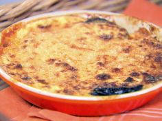 Eggplant Gratin from Barefoot Contessa. I just made it in a lasagna pan - a smallish one. Came out pretty good and was super easy to make!