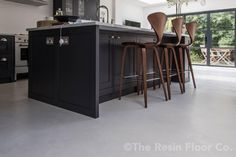 With the industrial trend continuing to grow in popularity around the home, poured concrete flooring is a great choice to achieve this look. Types Of Flooring, Vinyl Flooring, Kitchen Flooring, Flooring Ideas, Poured Concrete, Concrete Slab, Polished Concrete Flooring, Family Dining Rooms, Floor Colors