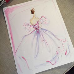 Sketch of the day: tulle appliqué layered gown. Sketch prints and originals available online at ChristianSiriano.com #cssketch