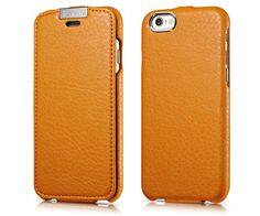 iCarer iPhone 6/ 6S Metal Warrior Microfiber Series Genuine Leather Flip Case Cover