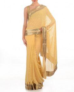 #Exclusivelyin, #IndianEthnicWear, #IndianWear, #Fashion, Cream Yellow Sari with Sequins