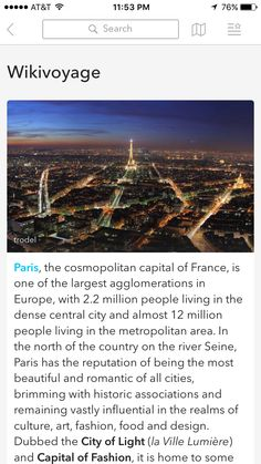 """Tapped on """"Things you need to know"""" on Paris Image"""