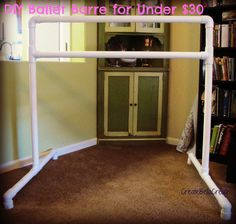 been looking for a way to make a clothing rack for my yardsale..this looks perfect!!!!!   DIY Tutorial Ballet Barre   How to Make a ballet barre   pvc ballet barre tutorial