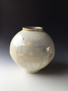 Available for sale from Mindy Solomon Gallery, Kang Hyo Lee, Buncheong Moon Jar Ceramic, 41 × 41 × 40 cm Ceramic Jars, Glazed Ceramic, Porcelain Ceramics, Ceramic Pottery, Moon Jar, Surface Art, Artsy, Clay, Vase
