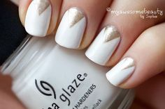 Image result for white nails with gold triangle