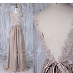 2017 Brown Gray Chiffon Bridesmaid Dress with Belt, Sweetheart Lace Illusion Wedding Dress, V Back Long Prom Dress Floor Length (L291) by RenzRags on Etsy https://www.etsy.com/listing/523957899/2017-brown-gray-chiffon-bridesmaid-dress