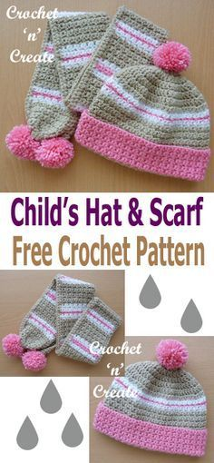 Make this crochet child's hat & scarf set for a Christmas gift. Free crochet pattern from Crochet Kids Scarf, Crochet Toddler, Crochet Girls, Crochet Baby Hats, Crochet Beanie, Crochet Scarves, Crochet For Kids, Crochet Clothes, Easy Crochet