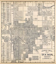 Restored map, archival reproduction. Tucson Arizona, Vintage Maps, Old City, Restoration, Canon, Printer, Canvas Prints, How To Plan