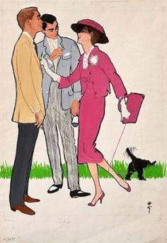 """Fashion illustration by René Gruau, 1958, Inserto per """"Adam""""."""