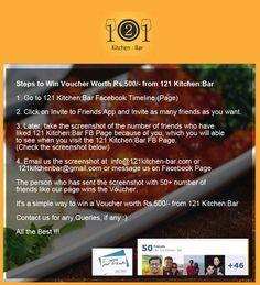 Steps to win Voucher worth Rs.500/- ..  to dine in at 121 Kitchen : Bar > #Restaurant #Voucher #Pune