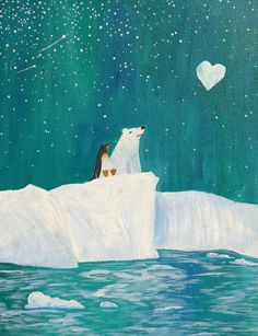 polar bear penguin love for boy or girl nursery. $16.00, via Etsy.