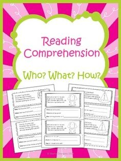 Reading Comprehension – Who? What? How?  This product in now available in a Reading Comprehension Bundle  with 8 other reading comprehension books!  Offers a 15% SAVINGS!  This 7 page book is designed so that you can copy the book, cut it in half, staple, and then it is ready for use.-Kindergarten-First Grade-Second Grade-Homeschool-Sherry Clements-$