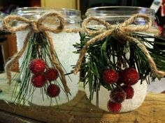 Faux snow candle holders. Mason jars & Epsom salt