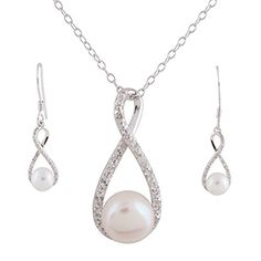 Sterling Silver Cultured White Freshwater Pearl Topaz Infinity Pendant Necklace and Earring Set >>> You can find out more details at the link of the image.