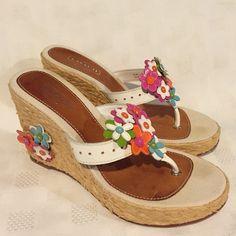 Coach Jesica Floral Straw Wedge Sandal Size 7B Authentic Coach Floral Leather Straw Wedge Thong Sandal. Size 7B. Affable! No trades Coach Shoes Sandals
