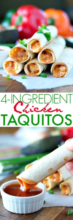 You only need 4 ingredients and about 10 minutes to pull together this crowd-pleasing appetizer or light dinner! Perfect for sports fans watching the big game, or for hungry little ones who need a weeknight meal FAST, these Chicken Taquitos are an easy family-friendly finger food!